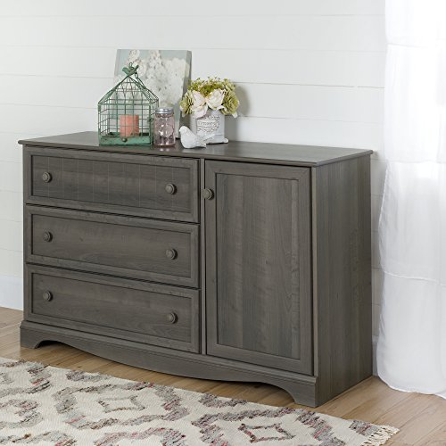 3-Drawer Dresser with Door in Gray Maple, 2 Closed Storage Spaces, Bedroom Furniture, Metal Drawer Slides, Adjustable Shelf, Laminated Particle Board, Bundle with Expert Guide for Better Life by X Trade Store