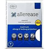 AllerEase Maximum Allergy and Bedbug Waterproof Zippered Mattress Protector - Vinyl Free & Hypoallergenic - 10 Year Warranty, Twin