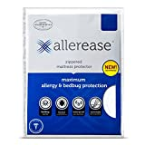 AllerEase Maximum Allergy and Bed Bug Waterproof Zippered Mattress Protector - Allergist Recommended to Prevent Collection of Dust Mites and Other Allergens, Vinyl Free & Hypoallergenic, Twin Sized