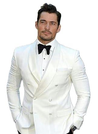 Ak Beauty Shawl Lapel White Wedding Suit For Men 2 Pieces Two Button