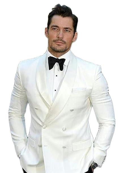 AK Beauty Shawl Lapel White Wedding Suit for Men 2 Pieces Two Button ...