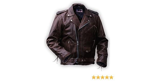 Chaqueta de Cuero Rockabilly Marlon Brando marrón: Amazon.es: Ropa y accesorios