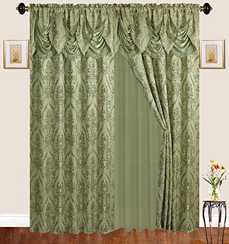 Fancy Linen 2 Panel Rod Pocket Sage Green Embroidery Curtains with Attached Valance and Sheer Backing for Living Room, Dining Room or Bedroom New #Emma 4399L