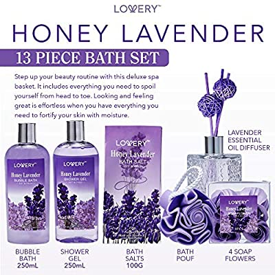 Bath and Body Gift Basket For Women and Men – Honey Lavender Home Spa Set with Essential Oil Diffuser, Soap Flowers, Salts and More - 13 Piece Set