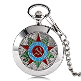 Luxury Pocket Watch, Silver Russia Soviet Sickle Hammer Communism Badge Pocket Watch, Vintage and Retro Gift for Men