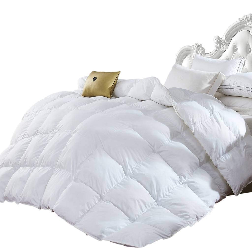 Egyptian Bedding Queen Size Luxurious 1200 Thread Count Goose Down Alternative Comforter, 100% Egyptian Cotton Cover, Solid White Color, 750 Fill Power, 50 Oz Fill Weight