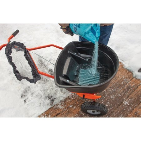 130lb Ice Control Push Salt Spreader with Large Pneumatic Tires, 25,000 sq. ft. coverage