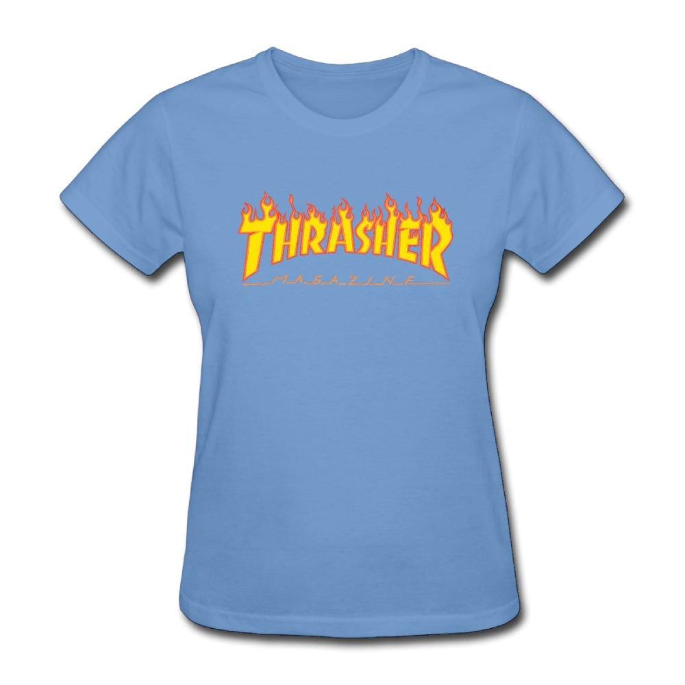 1d7594ea691a Amazon.com  ASKKEEEN Womens Thrasher Flame Logonarrow Coverseamed Neck  Short Sleeve T-Shirt  Clothing