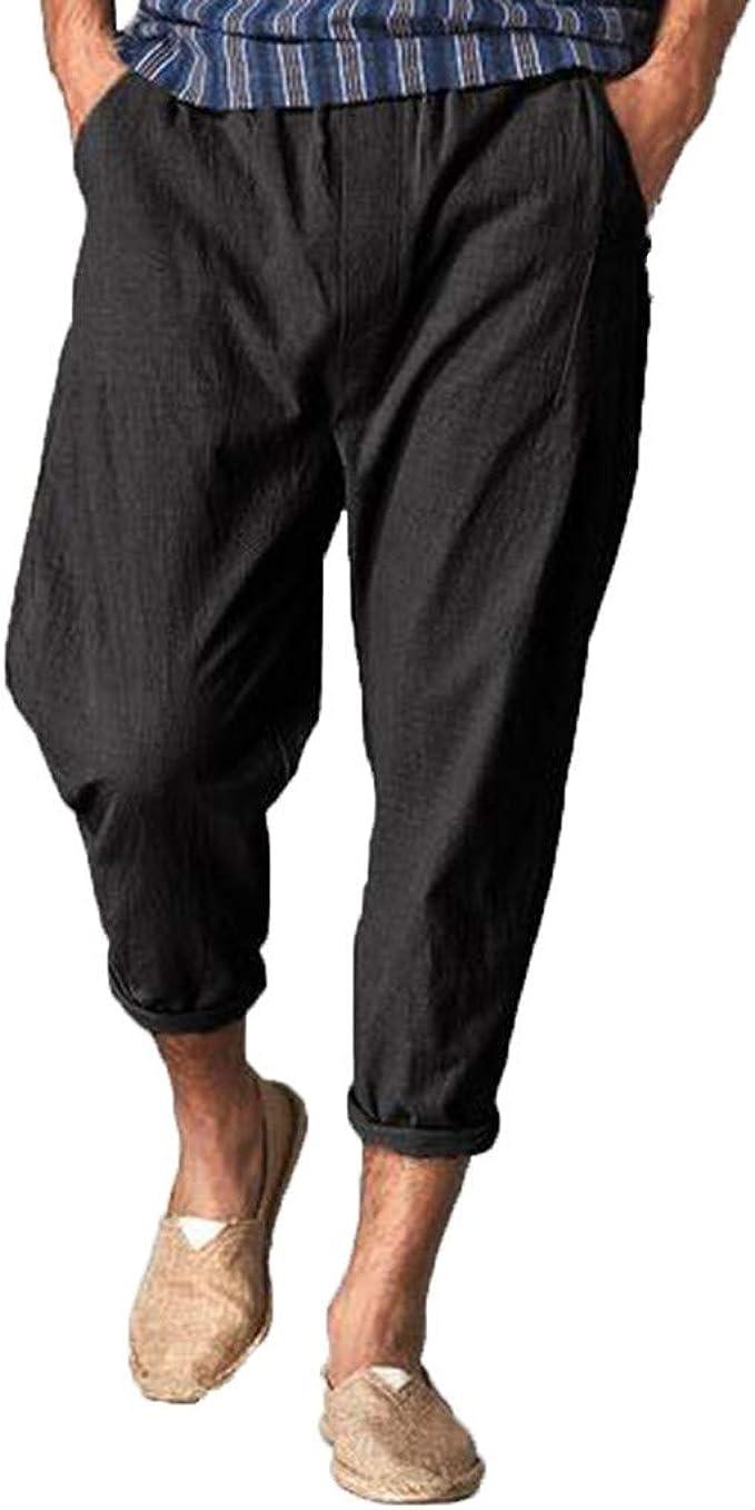 wodceeke Mens Elastic Waist Pants Printed Harem Pants Loose Cotton Linen Lounge Patchwork Trousers