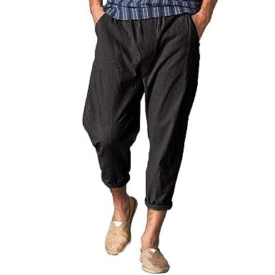 54aff4e51d wodceeke Summer Men Cotton Linen Pants, Beach Trousers Loose Casual  Lightweight Elastic Waist Straight Pants