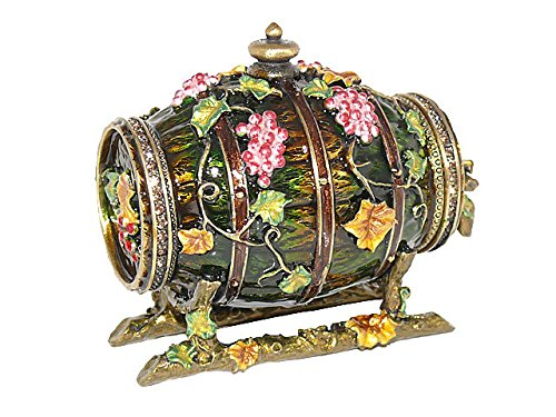 Enamel Barrel (Forest Green Enamel Floral Wine Barrel Trinket Jewelry Figurine Box With Swarovski Elements Crystals)