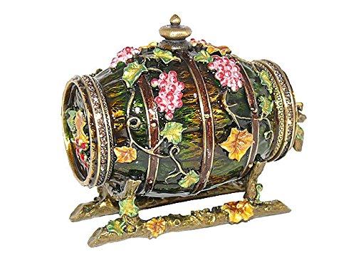 Krustallos Forest Green Enamel Floral Wine Barrel Antique Gift Trinket Jewelry Figurine Box