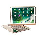 XFUNY iPad Pro 9.7 Keyboard Case Wireless Bluetooth Keyboard Full Protective Case With 360 ° Rotating And Seven-Color Backlight Slim Keyboard For iPad Pro 9.7 (Gold)