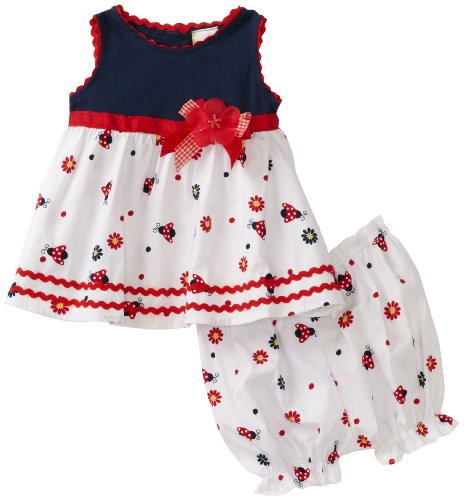 So La Vita Baby-girls Newborn Knit Yoke Ladybug Woven Skirt, Navy, 6 Months