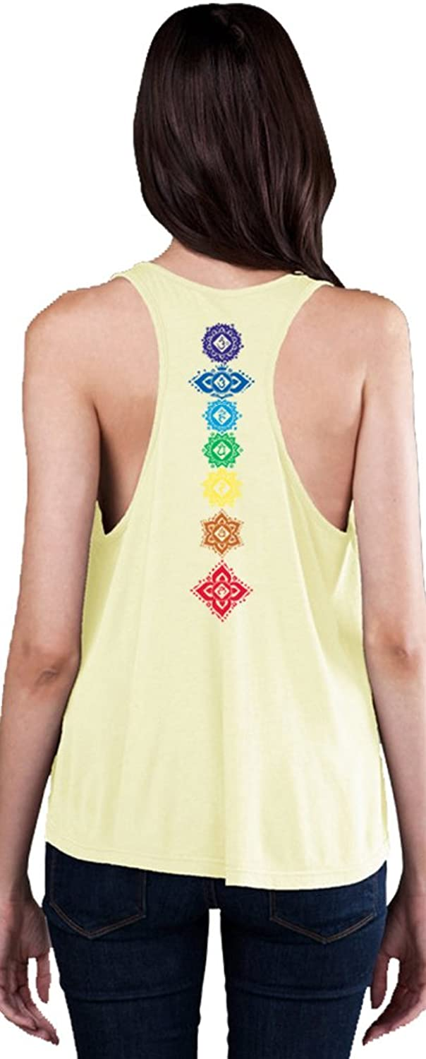 Yoga Clothing For You Ladies Floral Chakras Racerback Tank Top