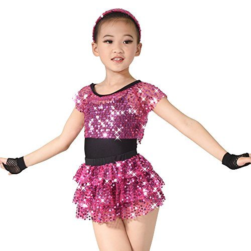 MiDee Dance Costume 6 Pieces Outfit For Girls (SC, Pink) - Disco Dance Costumes For Competitions