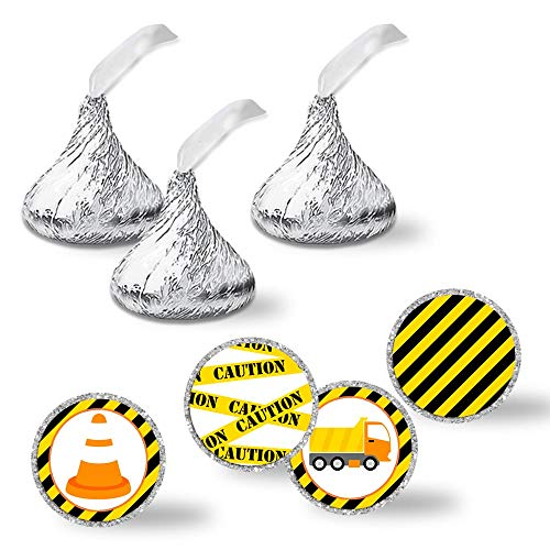 """Construction Zone Birthday Party Kiss Sticker Labels, 240 Party Circle Sticker sized 0.75"""" for Chocolate Drop Kisses by AmandaCreation, Great for Party Favors, Envelope Seals & Goodie Bags"""