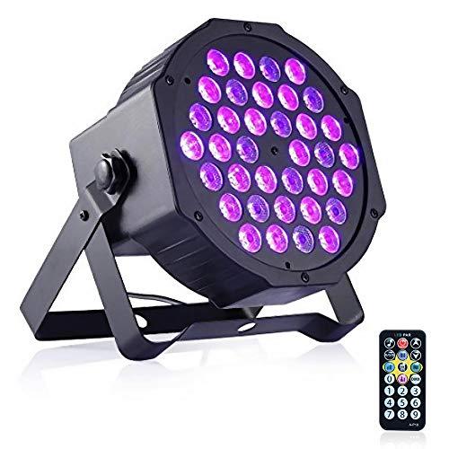 DeepDream 36W Blacklight UV LED Black Light DJ Lights Spotlight Auto Lighting Voice Control Party Wedding Halloween Disco Club with Remote Control