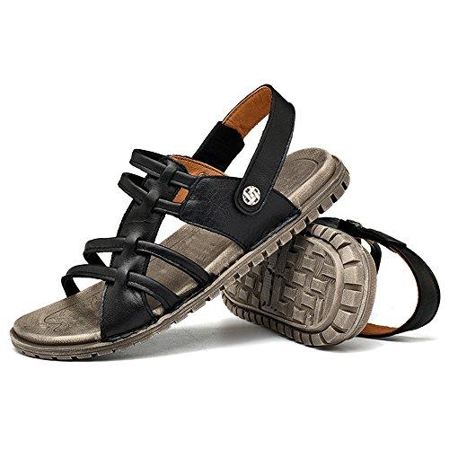 en talón del Sandalias Manera Planas los la de Hombres de Zapatos resbalón Sandalias Negro 2018 los pqS74nxafw