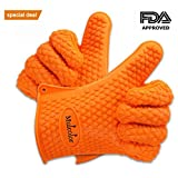 Mulcolor Silicone BBQ Grilling Gloves Oven Mitts Heat Resistant Waterproof (425 F) for Cooking Baking Barbecue Potholder( 1 Pair ), FDA Approved