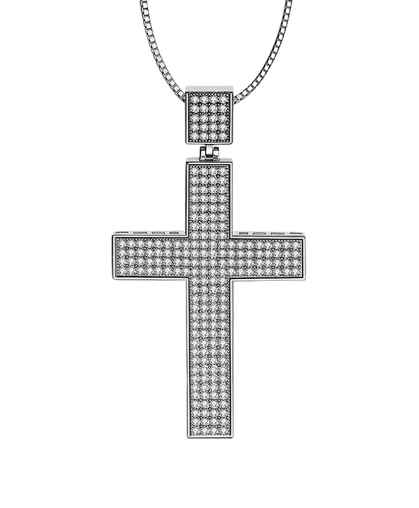 Aooaz Womens Ladies Silver Pendant Necklace Christ Cross Crucifix Retro Cubic Zirconia Wedding Promise by Aooaz