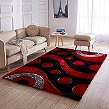 Ottomanson CSR3950-5X7 Red Waves Shag Area Rug, 5'3' x 7'3',