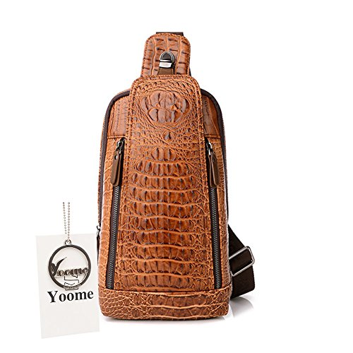 75bc2bf02fb0 Yoome Luxury Men s Crocodile Genuine Leather Crossbody Shoulder Bag Hiking  Sling Daypack Casual Satchel Bag Purse