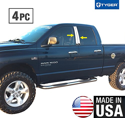 - Made in USA! Works With 02-08 Dodge Ram Quad/Crew Cab 4PC Stainless Steel Chrome Pillar Post Trim