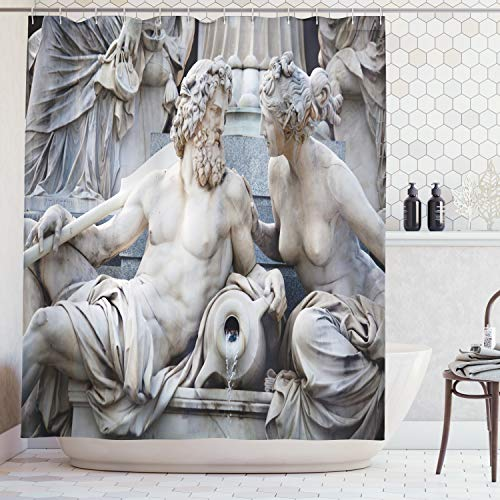 Ambesonne Sculptures Decor Collection, Male and Female Statues Athena Fountain in front of the Building of Austrian Parliament, Polyester Fabric Bathroom Shower Curtain Set with Hooks, -
