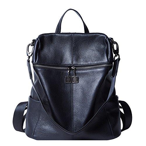BOYATU Convertible Genuine Leather Backpack Purse for Women Fashion Travel Bag (Black-02) by BOYATU
