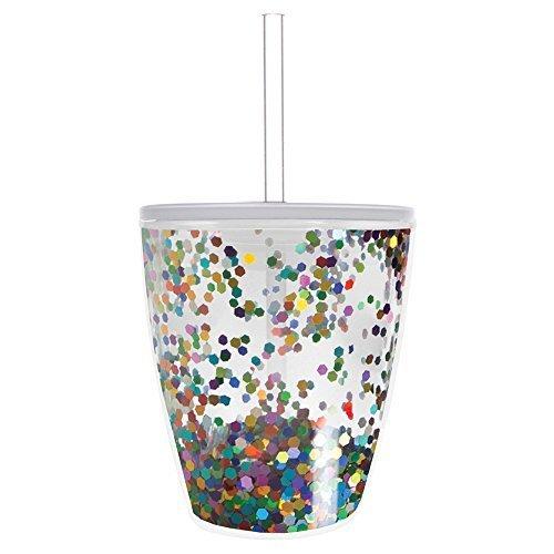Slant Collection 10 oz DW Double Old Fashion Multi Confetti Hot/Cold lid & straw