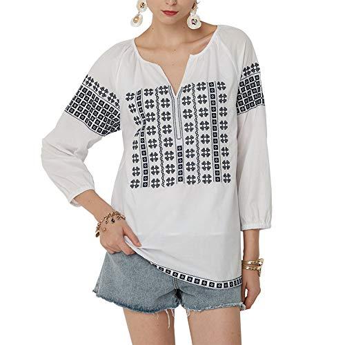 (AK Women's Embroidery Mexican Bohemian Cotton Tops Shirt Tunic Blouses (White, L))