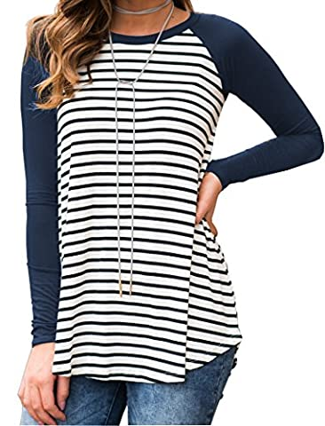 Halife Womens Raglan Long Sleeve Stripe Pattern T-Shirt Loose Casual Tops Blue S - Casual Stripe Pattern Shirts