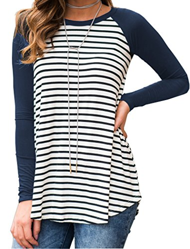 Neck Basic T-shirt Striped Shirts Tunic Top Blouse,A-navy Blue,Large ()