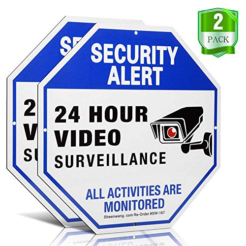 sheenwang Security Camera Sign, Video Surveillance Signs Outdoor, UV Printed 40 Mil Rust Free Aluminum 10 X 10 in, Weatherproof and Heavy Duty Security Signs for Home or Business