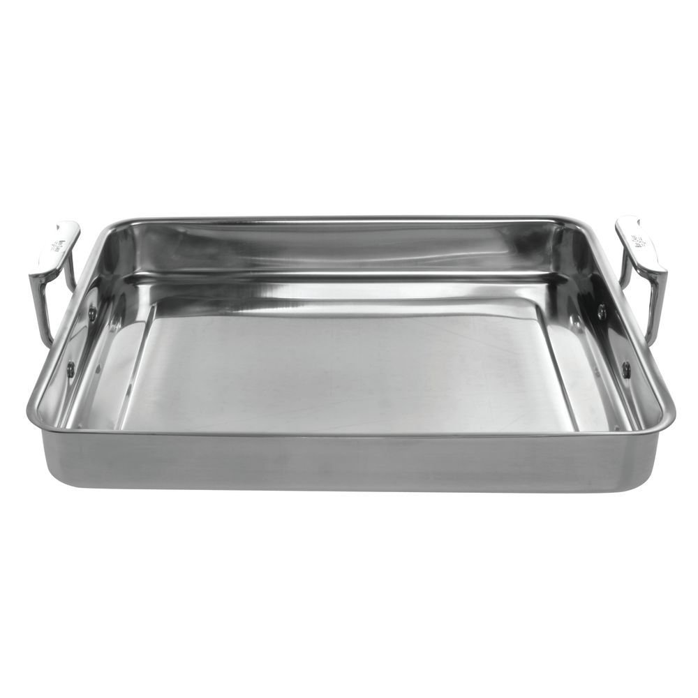 Bon Chef 60012 Stainless Steel Cucina Large Food Pan with Handles, 5 quart Capacity, 14-5/8'' Length x 11-7/8'' Width x 2-1/4'' Height