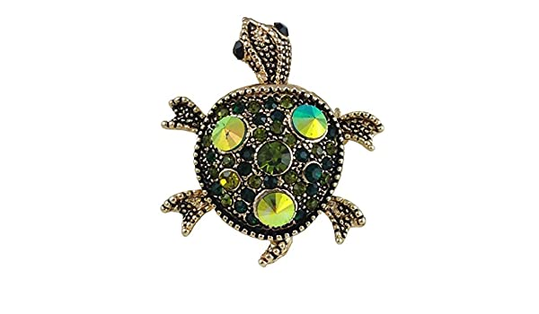 e1f2a6bd3 Amazon.com: Women's Green Crystal Turtle Brooch Pin: Jewelry