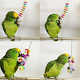 Yunt Set of 4 Pet Bird Parrot Parakeet Budgie Cockatiel Cage Hammock Swing Toy Hanging Toy(Style A+B+C+D)