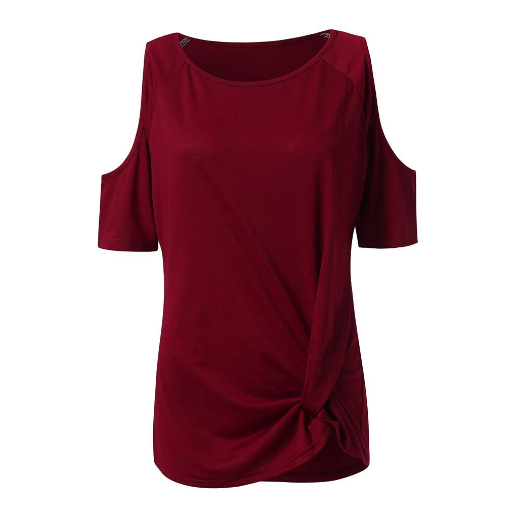 Womens Summer Cold Shoulder Short Sleeve Round Neck Bandage Basic Casual Tunic T-Shirt Tops Blouses (S, Wine) by Frost`nai Women's Blouse (Image #2)