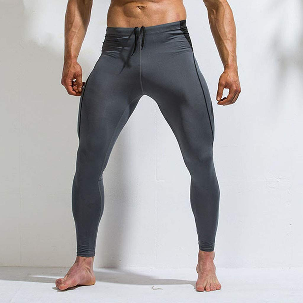 NUSGEAR Leggins Uomo Palestra Compressione Pantaloni Ragazzo Sportivo Running Jogging Pantaloni Uomini Elegante Pantalone da Allenamento con Asciugatura Rapida e Traspirante