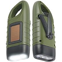 Simpeak Hand Crank Solar Powered Rechargeable LED Flashlight, 2 Pack
