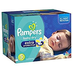 Pampers Baby Dry Extra Protection Diapers, Super Pack, Size 5, 66 Count (Packaging May Vary)