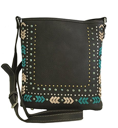Montana West Concealed Gun Messenger Purse Cross Body Aztec Design Coffee