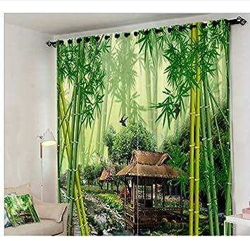 Amazon De Eqwr Jungle Bach Grun Bambus Vorhang Buro Schlafzimmer 3d
