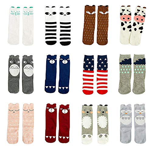 Gellwhu 12 Pairs Baby Girls Boys Cartoon Knee High Stockings Tube Socks 1-5Y (1-3 Years, 12 Pairs Set A)