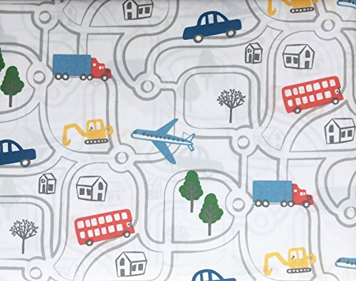 Authentic Kids 4 Piece Full Double Bed Sheet Set Buses Car Trucks Houses Roads -- Around Town