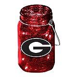 Team Sports America University of Georgia Mason Jar LED Lantern with String Lights, Team Logos and Colors