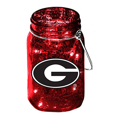 University of Georgia Mason Jar LED Lantern with String Lights, Team Logos and Colors ()