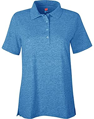 Hanes X-Temp  Women's Polo Neon Blue Heather  XX-Large