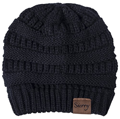 Ribbed Stretch Knit (Sierry Soft Stretch Cable Knit Beanie, Warm Solid Ribbed Beanie Hats - Unisex)
